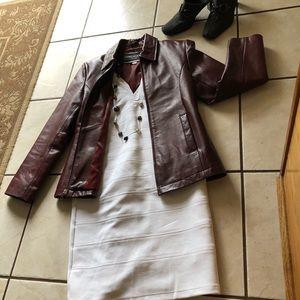 Dimension Sz S Burgundy Leather Jacket